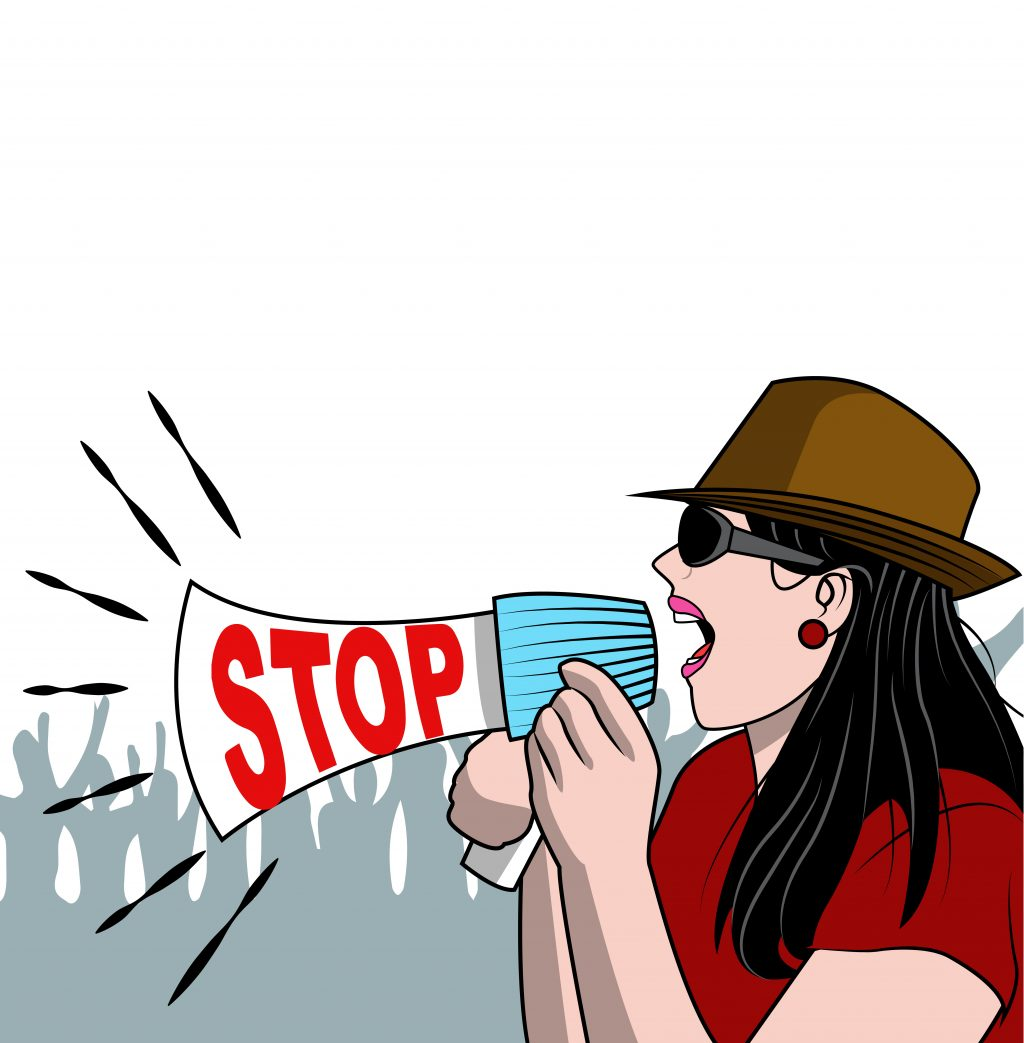 Activist woman with megaphone in the crowd vector illustration