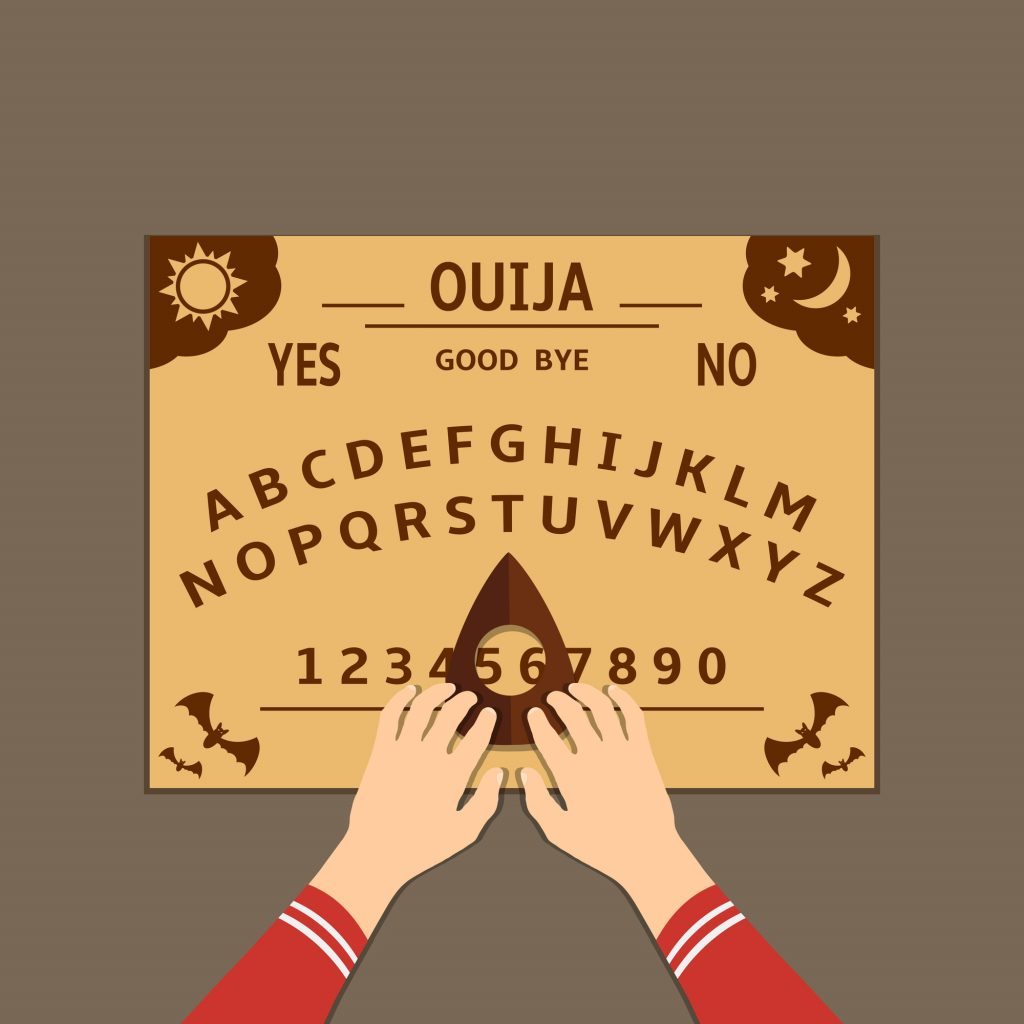 Ouija board flat design illustration