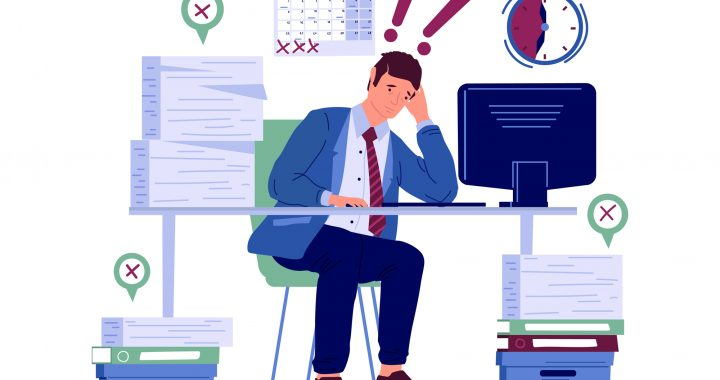 Stressed worker. Burnout character worried about deadline. Frustrated and anxiety employee. Hard work in office, busy unhappy man and stacks of paper on desk. Vector flat illustration